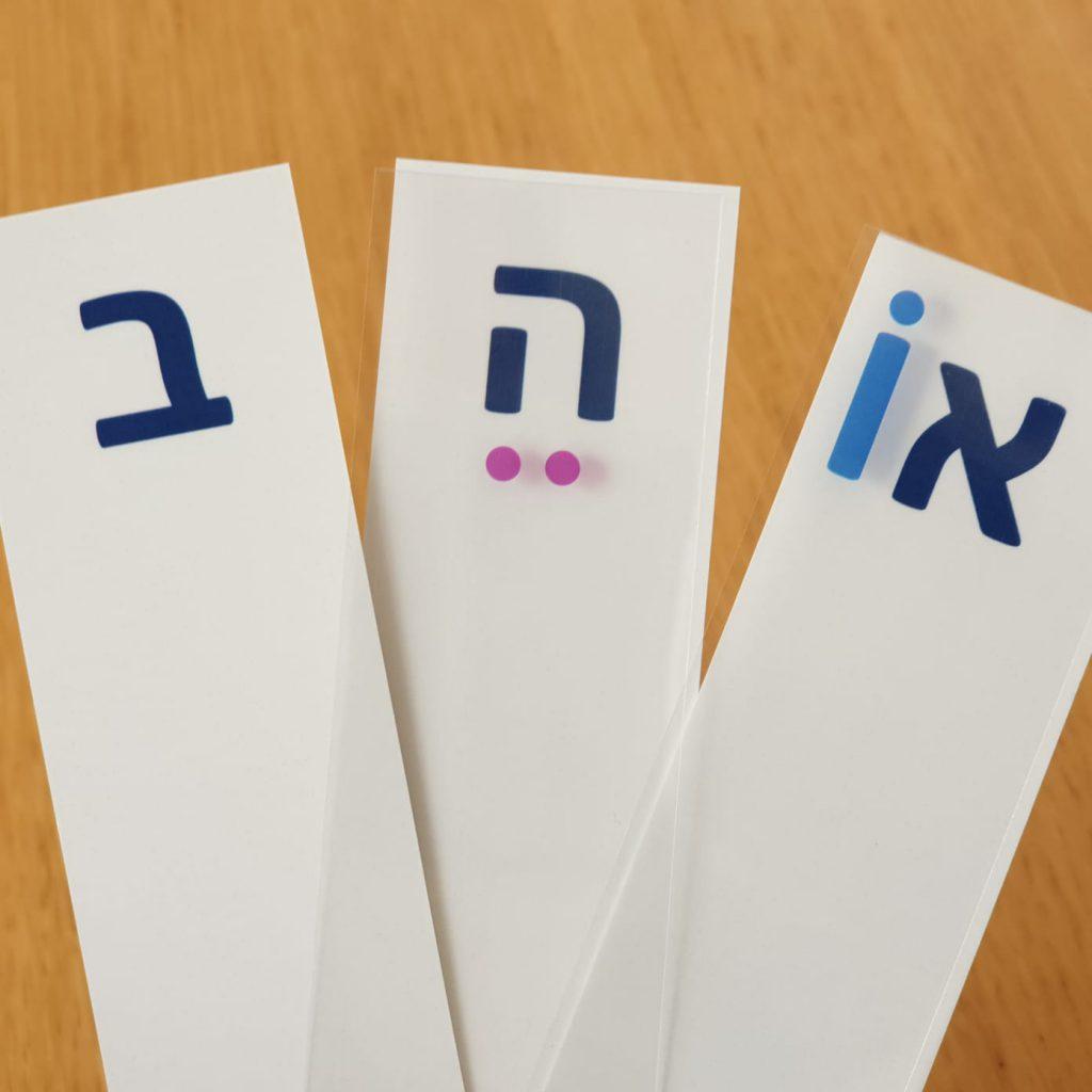 מניפת האותיות בעברית וסימני הניקוד